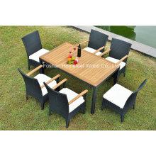 Conjunto de móveis de jantar com 1 + 6 peças com madeira de teca