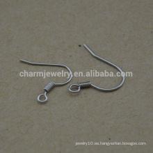 BXG022 Hilos de oído de acero inoxidable Coiled Fishhook, ganchos de pendiente, descubrimiento de pendientes de níquel libre para joyería de fabricación