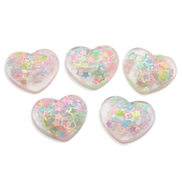 100 Stück Harz Flatback Shiny Heart Cabochons Irisierender Glitzer Stern Gefüllt DIY Home Decor Haarbogen Center Craft Embellishment