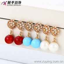 (28291) Xuping New Fashion or 18 carats perles boucles d'oreilles bijoux