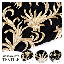 China supplier beautiful embroidered floral velvet fabric roll