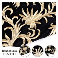 China fornecedor belo bordado floral tecido de veludo rolo
