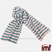 100% Inner Mongolian Cashmere Scarf Knitted Stripes for Kids or Adults