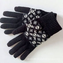 Unisex Adult Acrylic Double Layer Snowflakes Jacquard Knitted Winter Sports Mittens Outdoor Knitted-gloves