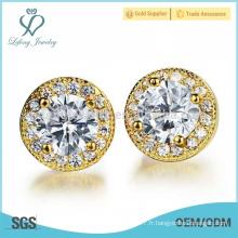 Boucles d'oreilles rondes en diamant en cuivre, bijoux en or 18 carats