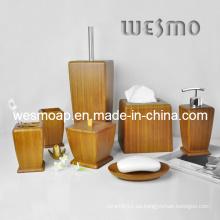 Set de baño de bambú carbonizado de gama alta (WBB0623A)
