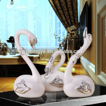 Hot sell decorative luxury white swan resin crafts home decoration resin art figurine