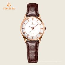Damenmode Leder Edelstahl Quarz Armbanduhr 71115