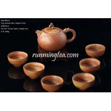Juego hecho a mano del té de cerámica crudo, una olla del té + 6 tazas de té, color marrón, caja de regalo del paquete