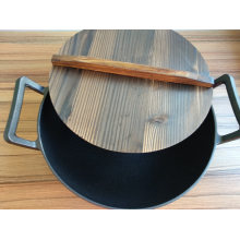 Cast Iron Japanese Iron Wok with Wooden Lid