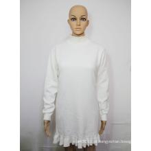 Senhora moda algodão malha pulôver plissado hem camisola de inverno (yky2046)