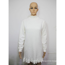 Леди мода хлопок вязаный пуловер с оборками зимний свитер (YKY2046)