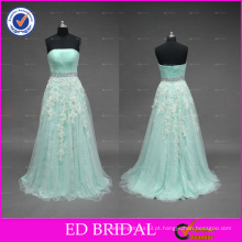 Real Pictures Strapless Lace Appliqued Tulle A Line Long Prom Dress Com faixa frisada