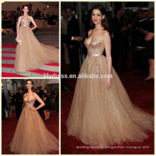 Gold Sweetheart Neckline Design Floor Length Custom Make Red Carpet Celebration Dresses RD003 long dress evening celebrity