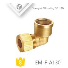 EM-F-A123 conector de tubo de rosca fêmea de 90 graus de bronze de ângulo direito