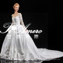 2015 Guangdong últimos diseños de encaje blanco real vestido de novia / moda de manga larga kim kardashian diseñador de vestidos de novia patrones