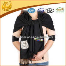 2015 New Style Fashionable Best Selling 100% Viscose Material Plain Shawl With Tassel