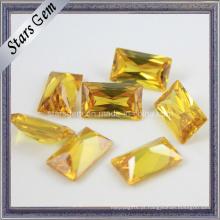Bonito Retângulo Amarelo Forma Princesa Corte Cúbico Zircônia Gema