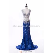Custom Made Popular Evening Dress Royal Blue Sparkle Sequins Crystal Mermaid Bridal Gown 2017