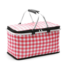 2021 hot selling Collapsible cooler market tote Aluminum handle storage shopping picnic basket