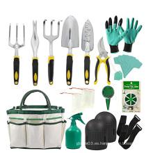 Kit de herramientas de mano de aluminio con guantes de jardín