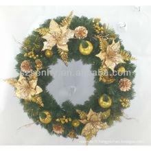 Couronne de fleurs de Noël artificiel en PVC