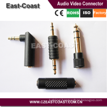 Gold 3.5mm/6.35mm male to female audio connector types adapter