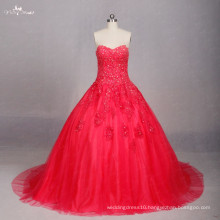 TW0170 Applique Work Design Red Wedding Dress Ball Gown