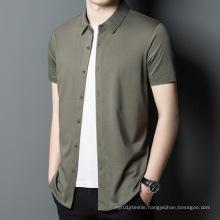 2021 Summer New Men's Shirt Bamboo Fiber Short-Sleeved Fashion Cotton