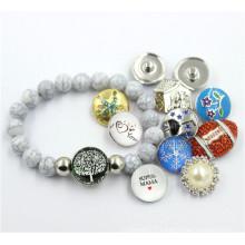 Bracelet gris en plastique Crack Beads avec bijoux à bouton-pression