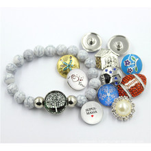 fashion Gray Plastic Crack Beads Bracelet with Snap Button Jewelry