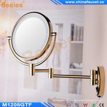 Montado en la pared oro LED espejo de maquillaje iluminado