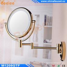 Mural, miroir de maquillage lumineux LED doré