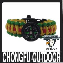 2015 novo produto sobrevivência corda paracord pulseira com compasso de nanjing china