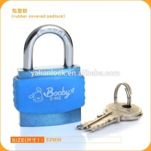 2014 New design Plastic covered colorful Rubber covered Blue color iron padlock