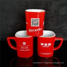 Tasse en céramique rouge imprimée noire de tasse faite sur commande pour la boisson