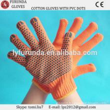 Vente en gros Gants en coton tricoté, gants en coton pointillé en PVC