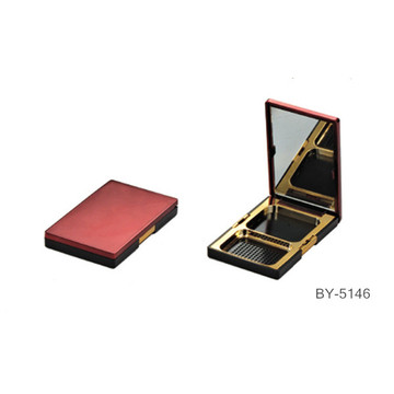 Luxury Red Compact Powder Container With Mirror