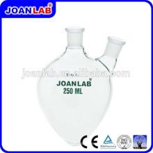 JOAN LAB Frasco de borosilicato de vidro em forma de pêra, dois pescoços com pescoço lateral angulado