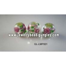 Цветочные печати мяч формы стеклянные бусины