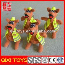 Wholesale en peluche kangourou en peluche kangourou porte-clés avec porte-clés en métal