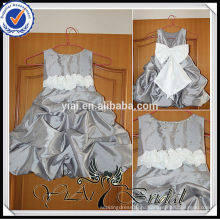 FG7 серебристо-серый тафты белой атласной ленты бант девочка свадьба платье