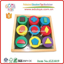 EZ1019 OEM 12 Geometric Shapes Wooden Educational Blocks for baby