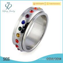 Anel gay da promessa do arco-íris do aço inoxidável, jóia lgbt do anel gay