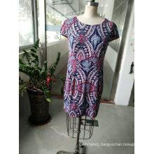 Spring Fashion Latest Colourful Geometrical Pattern Elegant Women′s Dress