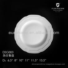 Placa de cena de la porcelana de 11 o de 12 pulgadas, placas al por mayor de la cena
