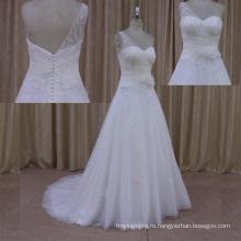 Кабриолет Повязку Свадебное Платье Открытая Спина Короткие Поезда