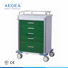 AG-GS001 new design dark green cold rolled steel medical emergency trolley for sale