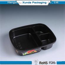 Emballage en plastique pour 3 compartiments Bento Box