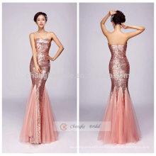 Sirena vestido de noche embellecido sin tirantes pescado tail sequins vestido completo